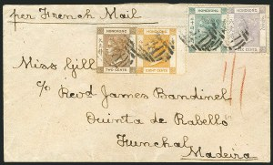 Sale Number 1114, Lot Number 984, Fiji thru Hong KongHONG KONG, 1863-80, 2c Brown, 6c Lilac, 8c Orange Buff, 24c Green (8, 12-13, 18; SG 8, 10-11, 14), HONG KONG, 1863-80, 2c Brown, 6c Lilac, 8c Orange Buff, 24c Green (8, 12-13, 18; SG 8, 10-11, 14)