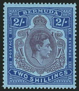 Sale Number 1114, Lot Number 99, Bermuda (by Gibbons) thru British HondurasBERMUDA, 1943, 2sh Purple & Deep Blue on Pale Blue, Shading Omitted from Top Scroll (SG 116db), BERMUDA, 1943, 2sh Purple & Deep Blue on Pale Blue, Shading Omitted from Top Scroll (SG 116db)