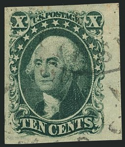 Sale Number 1115, Lot Number 2118, 10c 1851-56 Issue (Scott 13-14)10c Green, Ty. II (14), 10c Green, Ty. II (14)