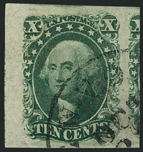 Sale Number 1115, Lot Number 2124, 10c 1851-56 Issue (Scott 13-14)10c Green, Ty. II (14), 10c Green, Ty. II (14)