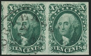 Sale Number 1115, Lot Number 2141, 10c 1851-56 Issue, cont. (Scott 15-16)10c Green, Ty. III (15), 10c Green, Ty. III (15)