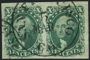 Sale Number 1115, Lot Number 2142, 10c 1851-56 Issue, cont. (Scott 15-16)10c Green, Ty. III (15), 10c Green, Ty. III (15)