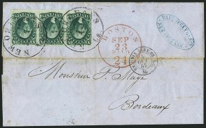 Sale Number 1115, Lot Number 2148, 10c 1851-56 Issue, cont. (Scott 15-16)10c Green, Ty. IV-IV-II (16-16-14), 10c Green, Ty. IV-IV-II (16-16-14)