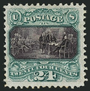 Sale Number 1115, Lot Number 2278, 12c-90c 1869 Pictorial Issue (Scott 117-122)24c Green & Violet, Without Grill (120a), 24c Green & Violet, Without Grill (120a)