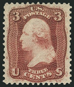Sale Number 1116, Lot Number 3142, 1861-68 Issues and 1875 Reprints (Scott 56-110)3c Brown Rose, First Design (56). Mint N.H, 3c Brown Rose, First Design (56). Mint N.H