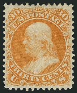 Sale Number 1116, Lot Number 3152, 1861-68 Issues and 1875 Reprints (Scott 56-110)30c Orange (71), 30c Orange (71)
