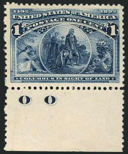 Sale Number 1116, Lot Number 3239, 1893 Columbian Issue (Scott 230-245)1c Columbian (230), 1c Columbian (230)