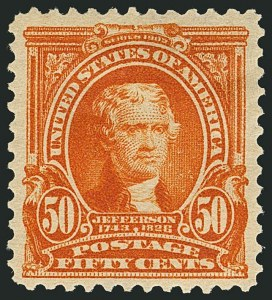 Sale Number 1116, Lot Number 3292, 1902-08 thru Louisiana Purchase Issues (Scott 300-327)50c Orange (310), 50c Orange (310)