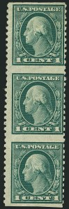 Sale Number 1116, Lot Number 3324, 1908-15 Issues (Scott 331-460)1c Green, Vertical Pair, Imperforate Horizontally (424c), 1c Green, Vertical Pair, Imperforate Horizontally (424c)