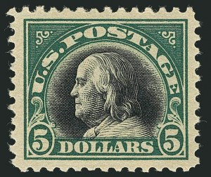 Sale Number 1116, Lot Number 3370, 1916-20 Issues (Scott 462-547)$5.00 Deep Green & Black (524), $5.00 Deep Green & Black (524)