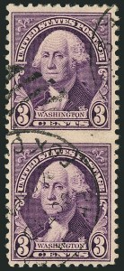 Sale Number 1116, Lot Number 3397, 1922 and Later Issues3c Washington, Vertical Pair, Imperforate Between (720c), 3c Washington, Vertical Pair, Imperforate Between (720c)