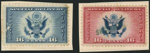"Sale Number 1116, Lot Number 3424, Air Post incl. Specialized Air Post Special Delivery 16c Dark Blue, 16c Red & Blue, Air Post Special Delivery, ""Specimen"" Overprint (CE1S-CE2S), 16c Dark Blue, 16c Red & Blue, Air Post Special Delivery, ""Specimen"" Overprint (CE1S-CE2S)"