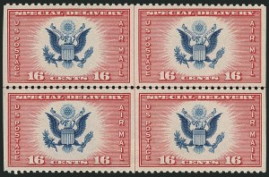 Sale Number 1116, Lot Number 3428, Air Post incl. Specialized Air Post Special Delivery 16c Red & Blue, Air Post Special Delivery, Horizontal Pair, Imperforate Vertically (CE2a), 16c Red & Blue, Air Post Special Delivery, Horizontal Pair, Imperforate Vertically (CE2a)