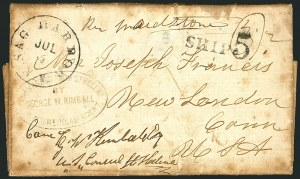 Sale Number 1117, Lot Number 4048, Ocean and Waterway Mail, ExpositionsCape of Good Hope to New London Conn. via St. Helena, Cape of Good Hope to New London Conn. via St. Helena