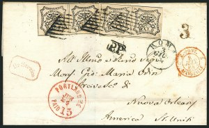 Sale Number 1117, Lot Number 4050, Ocean and Waterway Mail, ExpositionsPortland Me. Paid 15 Jun. 25 (1864), Portland Me. Paid 15 Jun. 25 (1864)