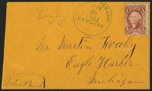 Sale Number 1117, Lot Number 4052, Ocean and Waterway Mail, ExpositionsSteamer Pewabic, Detroit, Nov. 10, 1864, Steamer Pewabic, Detroit, Nov. 10, 1864