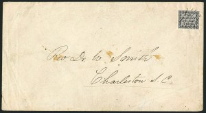 Sale Number 1117, Lot Number 4281, Carries and Locals: Carrier IssuesHonour's City Post, Charleston S.C., 2c Black on Bluish (4LB8), Honour's City Post, Charleston S.C., 2c Black on Bluish (4LB8)