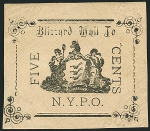 Sale Number 1117, Lot Number 4314, Local Posts: Beesley thru G. CarterBlizzard Mail, New York N.Y., 5c Black (163L1), Blizzard Mail, New York N.Y., 5c Black (163L1)