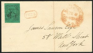 Sale Number 1117, Lot Number 4334, Local Posts: Chicago Penny Post thru Faunce`s(Mead's) Post Office City Despatch, New York N.Y., 2c Black on Green Glazed (40L2), (Mead's) Post Office City Despatch, New York N.Y., 2c Black on Green Glazed (40L2)
