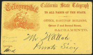 Sale Number 1117, Lot Number 4400, Western Mails and ExpressesCalifornia State Telegraph, California State Telegraph