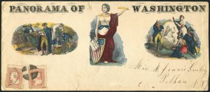 Sale Number 1117, Lot Number 4453, Civil War Postal History: Angell Cover and Magnus Designs3c Rose (65), 3c Rose (65)