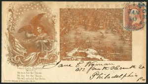 Sale Number 1117, Lot Number 4454, Civil War Postal History: Angell Cover and Magnus Designs3c Rose (65), 3c Rose (65)
