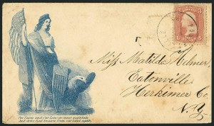 Sale Number 1117, Lot Number 4455, Civil War Postal History: Angell Cover and Magnus Designs3c Rose (65), 3c Rose (65)
