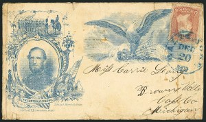 Sale Number 1117, Lot Number 4456, Civil War Postal History: Angell Cover and Magnus Designs3c Rose (65), 3c Rose (65)