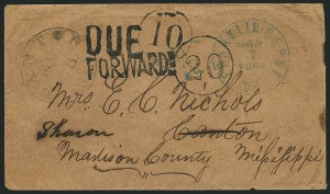 Sale Number 1117, Lot Number 4502, Confederate States: Handstamped Paid and Due MarkingsCanton Miss. Mar, Canton Miss. Mar