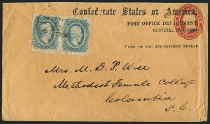 Sale Number 1117, Lot Number 4555, Confederate States: Imprints, POW, Flag-of-Truce, TelegramsPost Office Department, Official Business, Chief of the Appointment Bureau, Post Office Department, Official Business, Chief of the Appointment Bureau