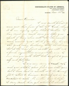 Sale Number 1117, Lot Number 4556, Confederate States: Imprints, POW, Flag-of-Truce, TelegramsPost Office Department, Appointment Bureau, Richmond Nov. 26, 1861, Post Office Department, Appointment Bureau, Richmond Nov. 26, 1861