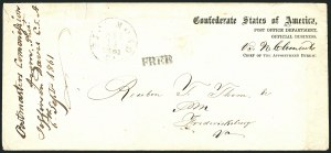 Sale Number 1117, Lot Number 4557, Confederate States: Imprints, POW, Flag-of-Truce, TelegramsPost Office Department, Official Business, Chief of the Appointment Bureau, Post Office Department, Official Business, Chief of the Appointment Bureau