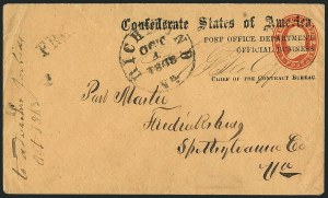 Sale Number 1117, Lot Number 4558, Confederate States: Imprints, POW, Flag-of-Truce, TelegramsPost Office Department, Official Business, Chief of the Contract Bureau, Post Office Department, Official Business, Chief of the Contract Bureau