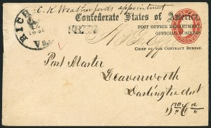 Sale Number 1117, Lot Number 4559, Confederate States: Imprints, POW, Flag-of-Truce, TelegramsPost Office Department, Official Business, Chief of the Contract Bureau, Post Office Department, Official Business, Chief of the Contract Bureau