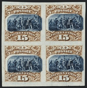 Sale Number 1118, Lot Number 10, Post Office Announcement, 15c 1869 Pictorial Essays and Proofs15c Brown & Blue, Ty. III, Plate Proof on India (129P3), 15c Brown & Blue, Ty. III, Plate Proof on India (129P3)