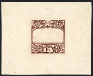Sale Number 1118, Lot Number 6, Post Office Announcement, 15c 1869 Pictorial Essays and Proofs15c Red Brown, Ty. II Frame Only, Die Proof on India (119-E1a), 15c Red Brown, Ty. II Frame Only, Die Proof on India (119-E1a)