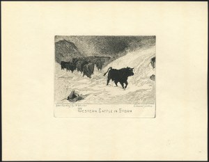 "Sale Number 1120, Lot Number 1018, Essays and Proofs""Western Cattle in Storm"" Engraving, ""Western Cattle in Storm"" Engraving"