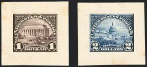 Sale Number 1120, Lot Number 1020, Essays and Proofs$1.00 Lincoln Memorial, $2.00 Capitol, Large Die Proofs on India (571P1-572P1), $1.00 Lincoln Memorial, $2.00 Capitol, Large Die Proofs on India (571P1-572P1)