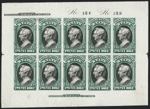 Sale Number 1120, Lot Number 1022, Essays and Proofs$20.00 State, Plate Proof on India (O71P3), $20.00 State, Plate Proof on India (O71P3)