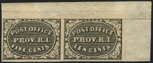 Sale Number 1120, Lot Number 1034, Postmasters` ProvisionalsProvidence R.I., 5c & 10c Gray Black, Se-Tenant (10X2a), Providence R.I., 5c & 10c Gray Black, Se-Tenant (10X2a)