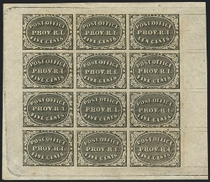 Sale Number 1120, Lot Number 1035, Postmasters` ProvisionalsProvidence R.I., 5c & 10c Gray Black, Se-Tenant (10X2a), Providence R.I., 5c & 10c Gray Black, Se-Tenant (10X2a)