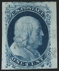 Sale Number 1120, Lot Number 1086, 1c 1851-56 Issue (Scott 5-9)1c Blue, Ty. II (7), 1c Blue, Ty. II (7)