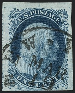 Sale Number 1120, Lot Number 1088, 1c 1851-56 Issue (Scott 5-9)1c Blue, Ty. II (7), 1c Blue, Ty. II (7)