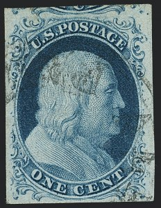 Sale Number 1120, Lot Number 1089, 1c 1851-56 Issue (Scott 5-9)1c Blue, Ty. II (7), 1c Blue, Ty. II (7)