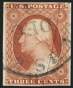 Sale Number 1120, Lot Number 1150, 3c 1851-56 Issue (Scott 10-11A)3c Claret, Ty. II, Major Plate Crack (11A), 3c Claret, Ty. II, Major Plate Crack (11A)