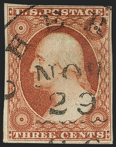 Sale Number 1120, Lot Number 1155, 3c 1851-56 Issue (Scott 10-11A)3c Experimental Orange Brown, Ty. II (11A), 3c Experimental Orange Brown, Ty. II (11A)