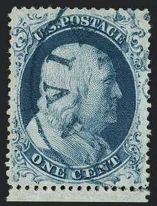 Sale Number 1120, Lot Number 1193, 1c-3c 1857-60 Issue (Scott 18-26A)1c Blue, Ty. IIIa (22), 1c Blue, Ty. IIIa (22)