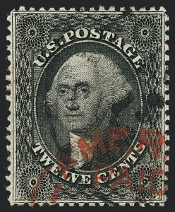 Sale Number 1120, Lot Number 1212, 5c-90c 1857-60 Issue (Scott 27-39)12c Black, Plate 1 (36), 12c Black, Plate 1 (36)