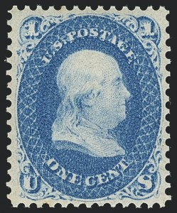 Sale Number 1120, Lot Number 1227, 1861-66 Issue (Scott 56-78)1c Ultramarine (63a). Mint N.H, 1c Ultramarine (63a). Mint N.H