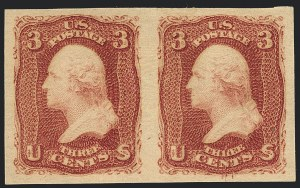 Sale Number 1120, Lot Number 1241, 1861-66 Issue (Scott 56-78)3c Lake, Imperforate (66a). Mint N.H, 3c Lake, Imperforate (66a). Mint N.H